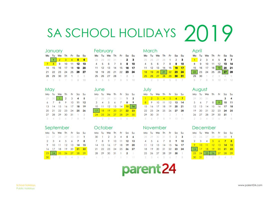 School Holiday Calendar - South Africa